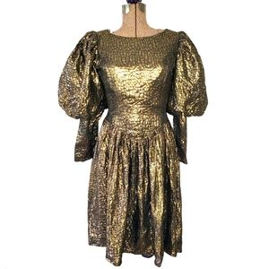 Vintage 80s gold and black prom dress